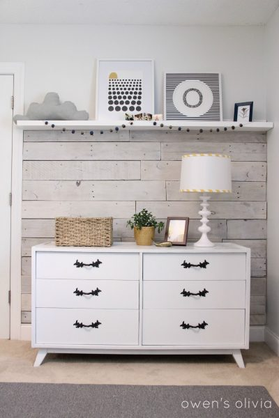whitewashed pallet wood wainscoting on Remodelaholic