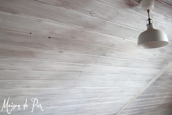 whitewashed plank walls and ceiling tutorial, Maison de Pax on Remodelaholic