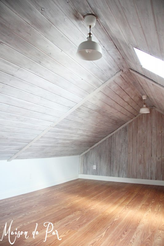 Attic with Whitewashed Plank Walls and Ceiling | Tutorial by Maison de Pax on Remodelaholic.com
