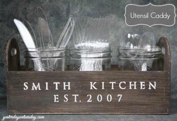 kitchen organizing with jars