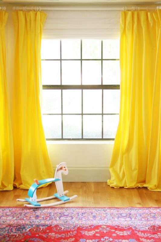yellow nursery curtains