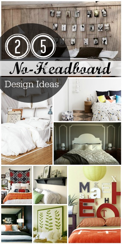 25 No-Headboard Design Ideas | @Remodelaholic #home #design #bed #bedroom #decor #wall #headboard