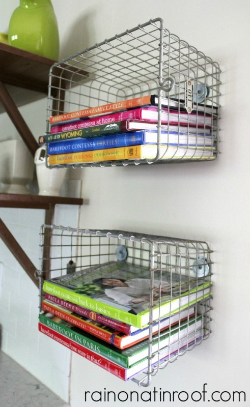 wire basket shelving to hold cookbooks