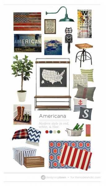 Americana MoodBoard by Designing Dawn for Remodelaholic.com