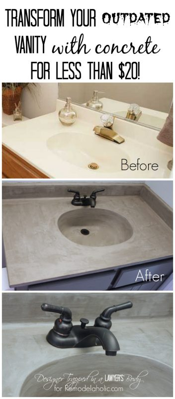 Nice Learn how to transform a cultured marble vanity with concrete on Remodelaholic