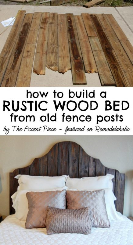 How to build a rustic wood bed, The Accent Piece featured on Remodelaholic