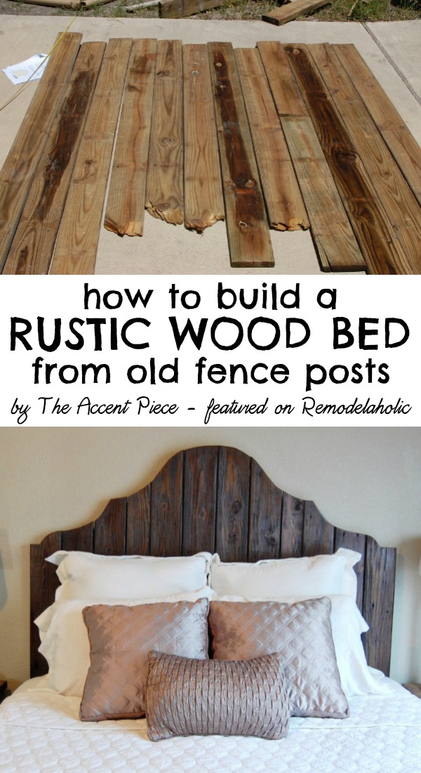How to build a rustic wood headboard + bed -- The Accent Piece featured on - Remodelaholic Curvy Reclaimed Wood Headboard Tutorial
