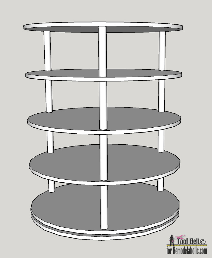 Remodelaholic Rotating Shoe Rack Building Plan. Lazy Susan