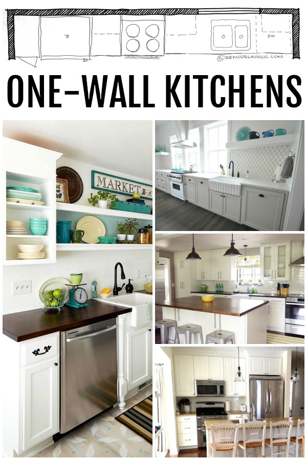 Remodelaholic popular kitchen layouts and how to use them for Long kitchen wall units