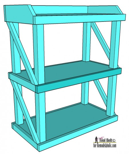 Free DIY plans to build an easy and stylish small shelf on Remodelaholic.com in blue