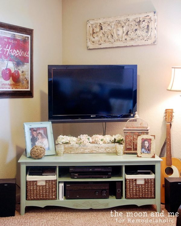 Turn an old entertainment center into a TV console table   The Moon and Me featured on Remodelaholic.com #upcycle #revamp