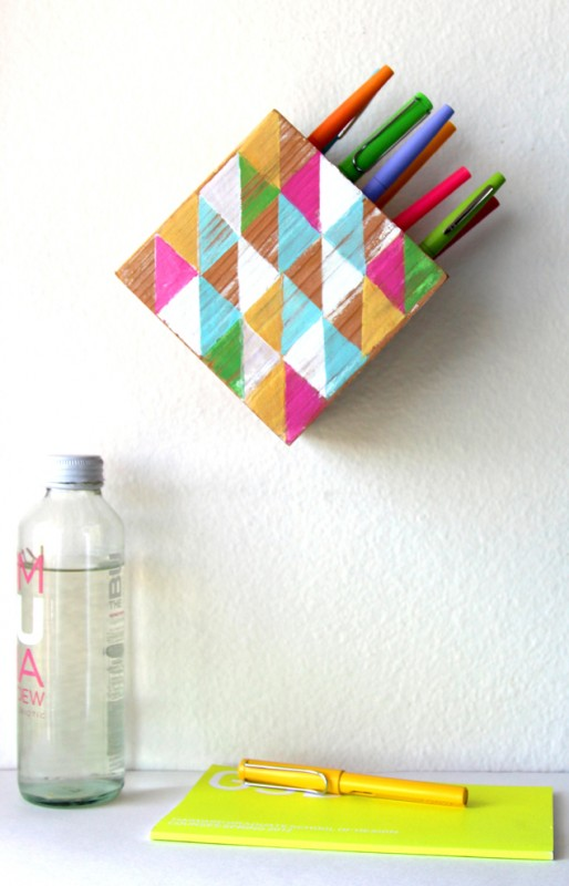 wall hanging pen holder DIY