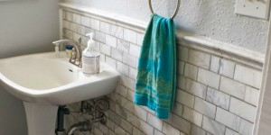 bathroom remodel with marble subway tile
