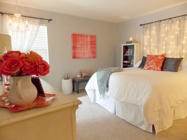 bedroom makeover with lighted curtain headboard