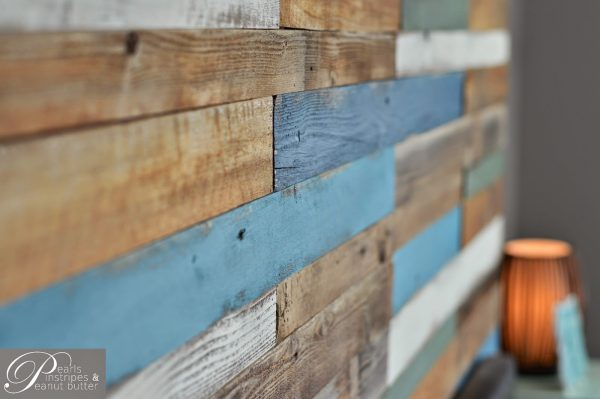 blue and rustic plank headboard wall, Pearls Pinstripes and Peanut Butter on Remodelaholic