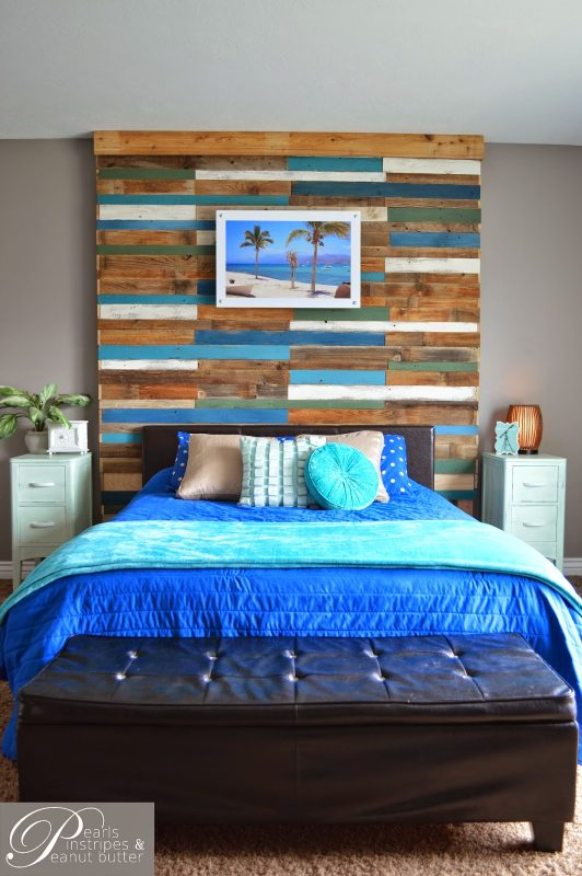 Build a Plank Headboard Wall | Pearls Pinstripes and Peanut Butter featured on Remodelaholic.com #headboardweek #headboard #accentwall #tutorial