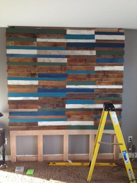 remodelaholic  colorful and rustic plank headboard wall, Headboard designs