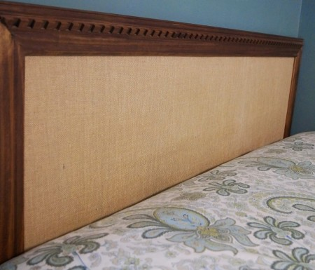 burlap and wood trim easy headboard no tools required, Do Not Disturb This Groove on Remodelaholic