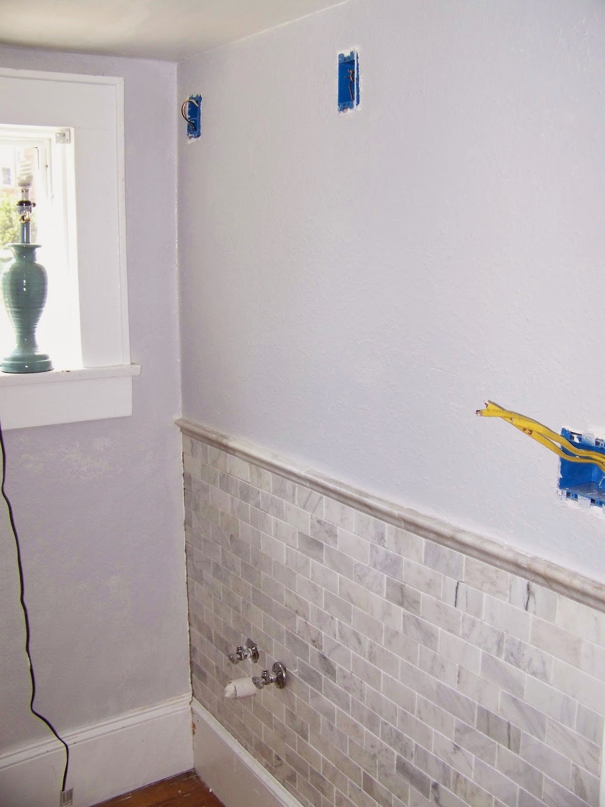 Tiled Bathroom Half Wall remodelaholic | complete bathroom remodel with marble subway tile