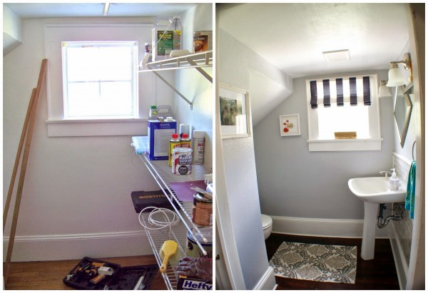 complete bathroom remodel before and after, Seesaws and Sawhorses on Remodelaholic