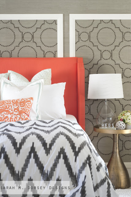 coral upholstered headboard with curved arms, tutorial via Sarah M Dorsey Designs