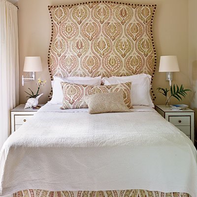 custom curvy square French inspired headboard via Coastal Living