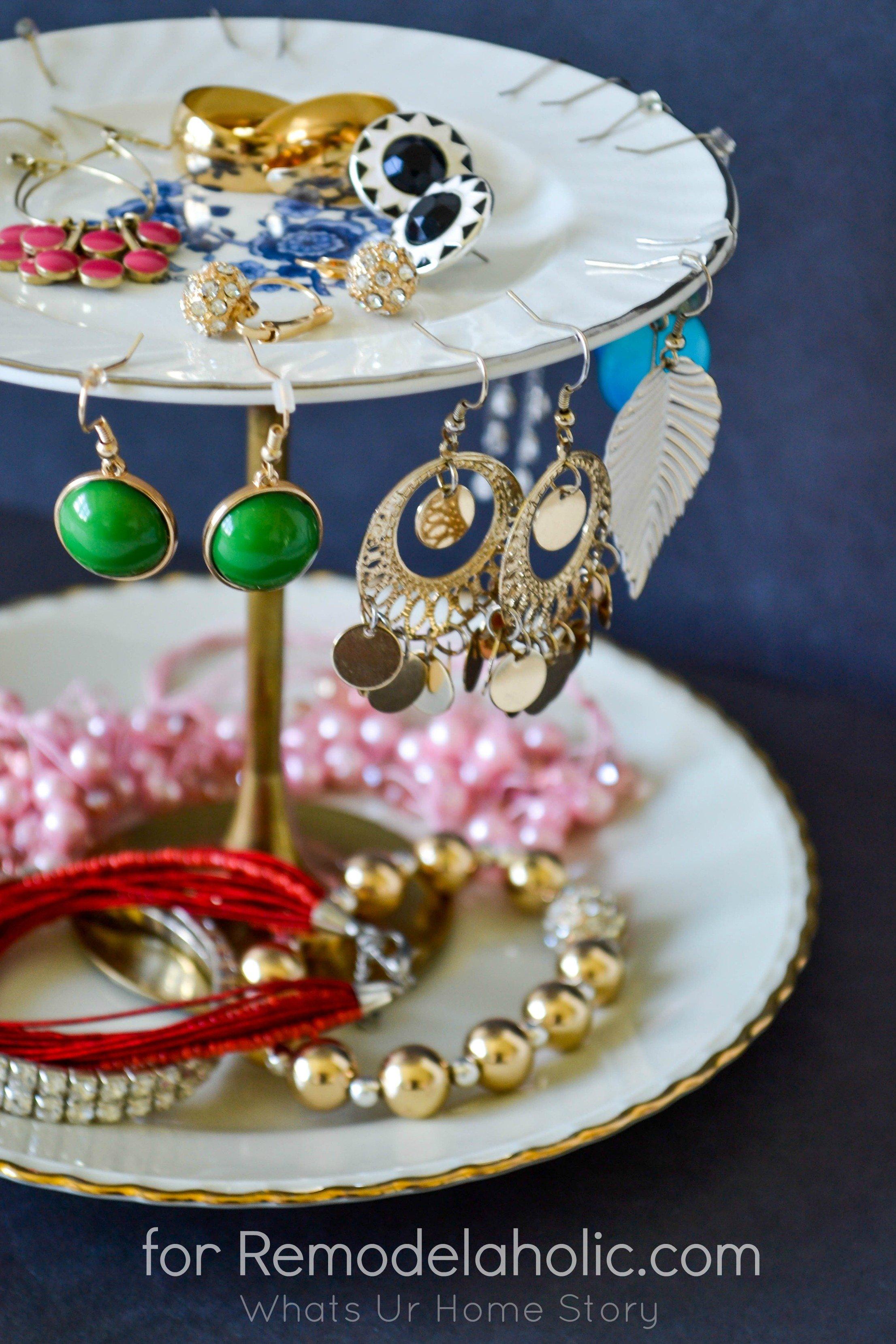Remodelaholic Diy Jewelry Stand & Diy Jewelry Stand With Plates - DIY Campbellandkellarteam