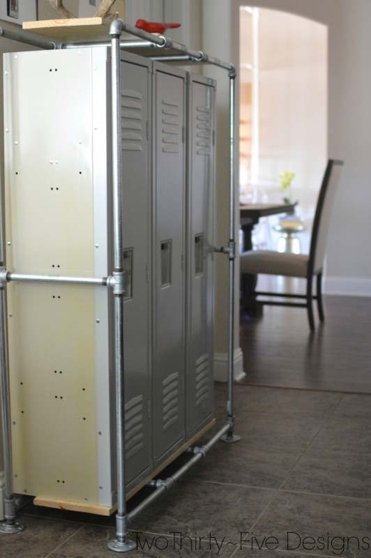 Remodelaholic industrial style mudroom locker system for Mudroom locker design plans