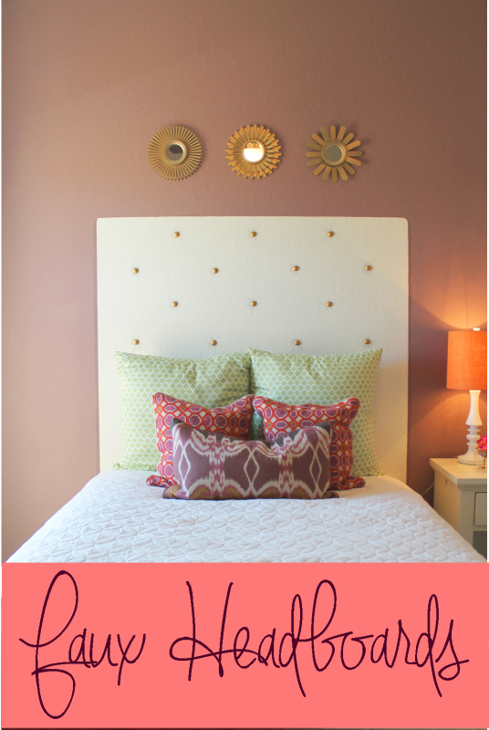faux painted headboard with faux nailhead tufting via Remodelaholic.com