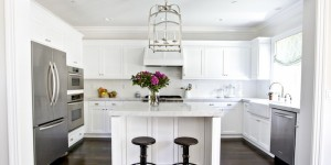feature horseshoe kitchen layout with island via DecorPad