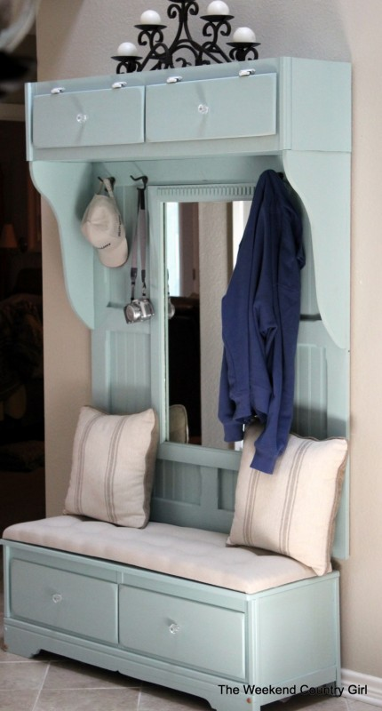 furniture makeover - dresser to tall mudroom bench