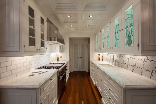 gally kitchen layout with white marble via DecorPad