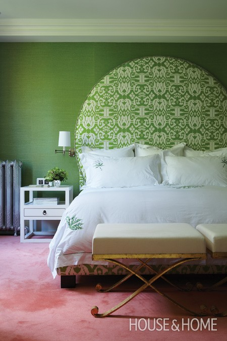 green ikat pattern circle upholstered headboard via House and Home