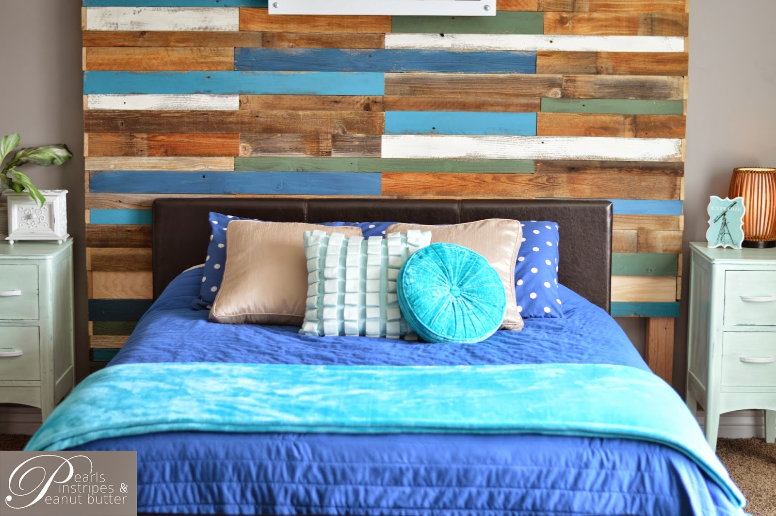 Remodelaholic | Colorful and Rustic Plank Headboard Wall