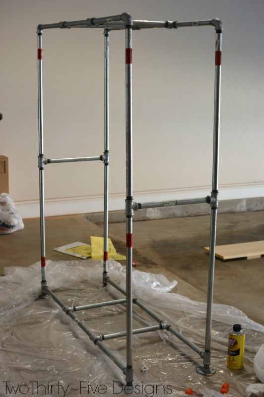 how to build a pipe frame for a mudroom locker system 08, Two Thirty Five Designs on Remodelaholic