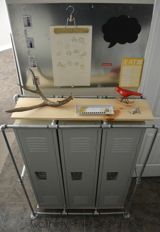 DIY Mudroom Locker System | Two Thirty-Five Designs featured on Remodelaholic.com #organizing #industrial