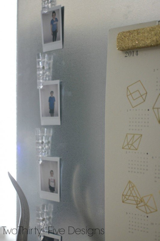 magnet board with glittered photo hanger, Two Thirty Five Designs on Remodelaholic