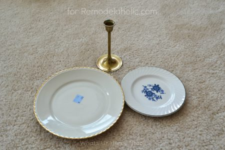 make a jewelry organizer with plates and candle stick on Remodelaholic.com