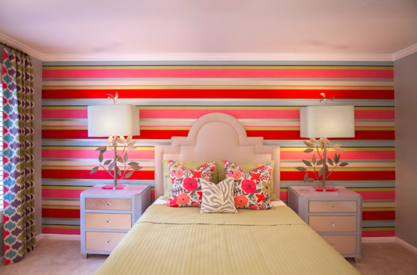 neutral stepped keystone headboard with vibrant accent wall via DecorPad
