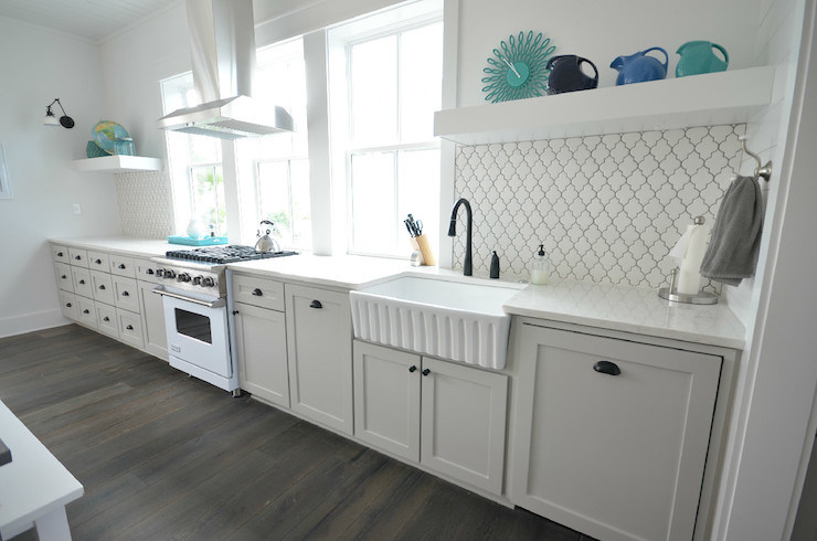one wall galley kitchen design. one wall kitchen layout in white via DecorPad Remodelaholic  Popular Kitchen Layouts and How to Use Them