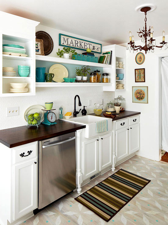 one wall galley kitchen design. one wall kitchen layout with apron sink featured on Remodelaholic com via  BHG Popular Kitchen Layouts and How to Use Them