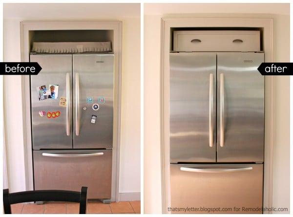over fridge cabinet before after