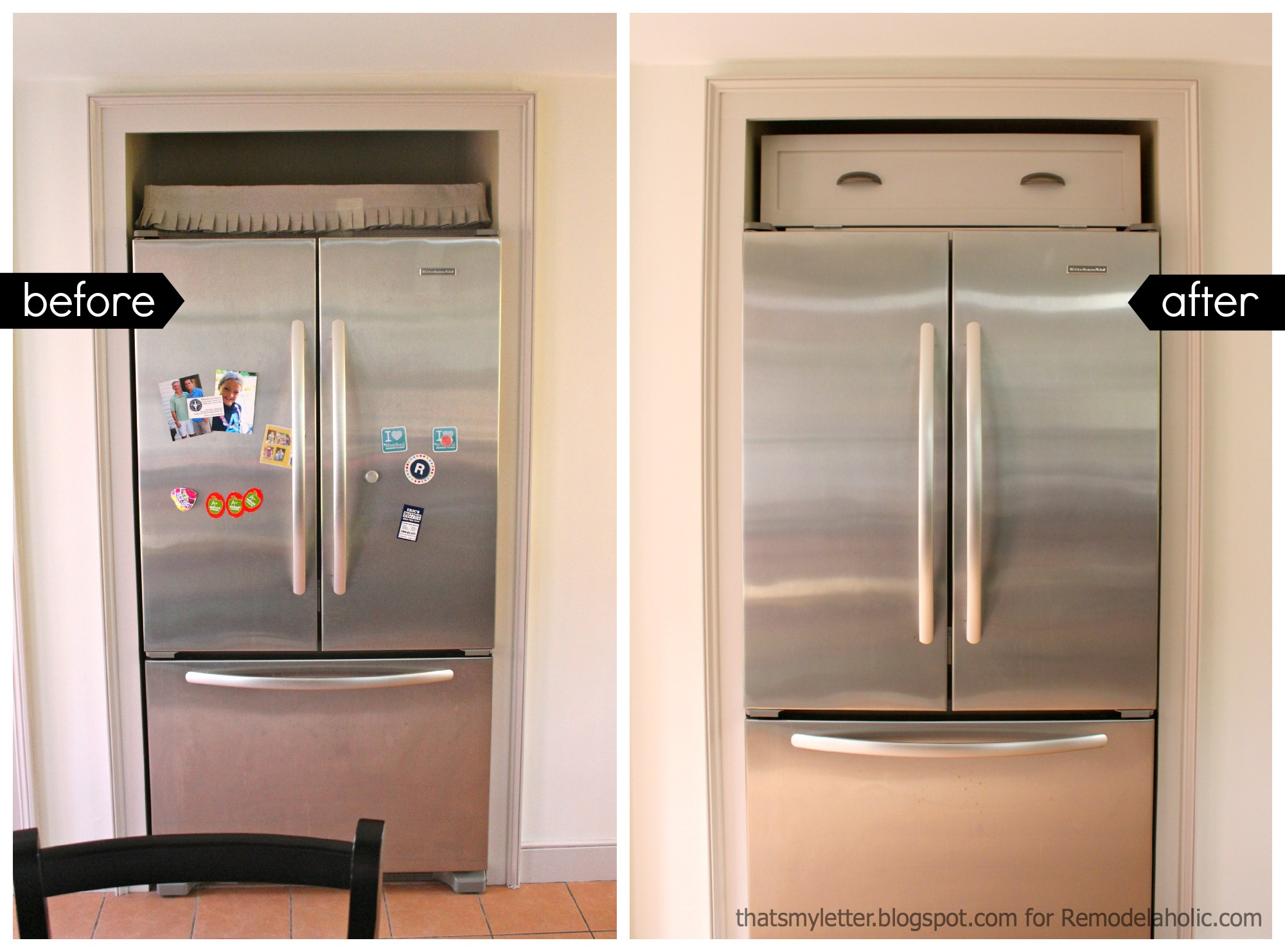 Charming Over Fridge Cabinet Before After