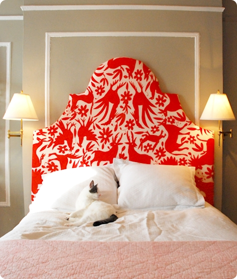 red otomi fabric stepped keystone headboard via Design Sponge