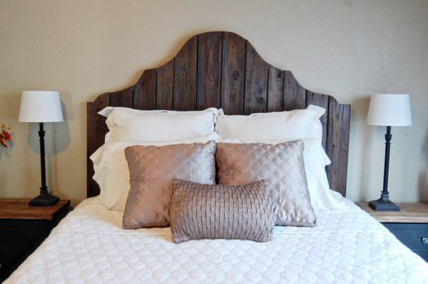 rustic wood headboard and bed, The Accent Piece on Remodelaholic