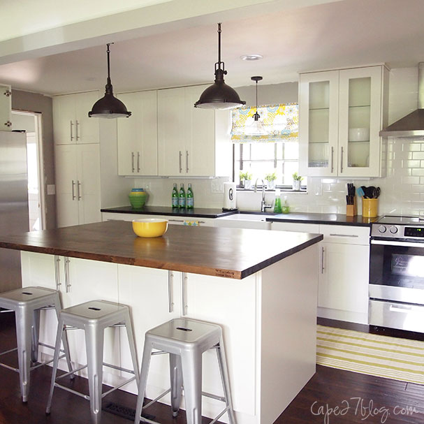 Beautiful Single Wall Kitchen With Island Via Remodelaholic.com Part 10
