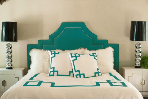 stepped scooped keystone headboard in turquoise, via Sadie and Stella