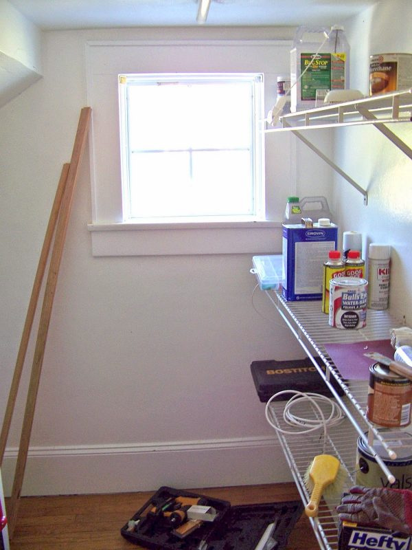 storage closet into half bathroom, Seesaws and Sawhorses on Remodelaholic