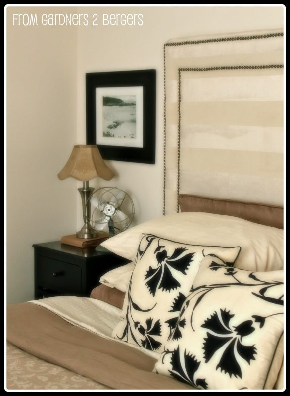 striped square headboard with double nailhead trim via Remodelaholic