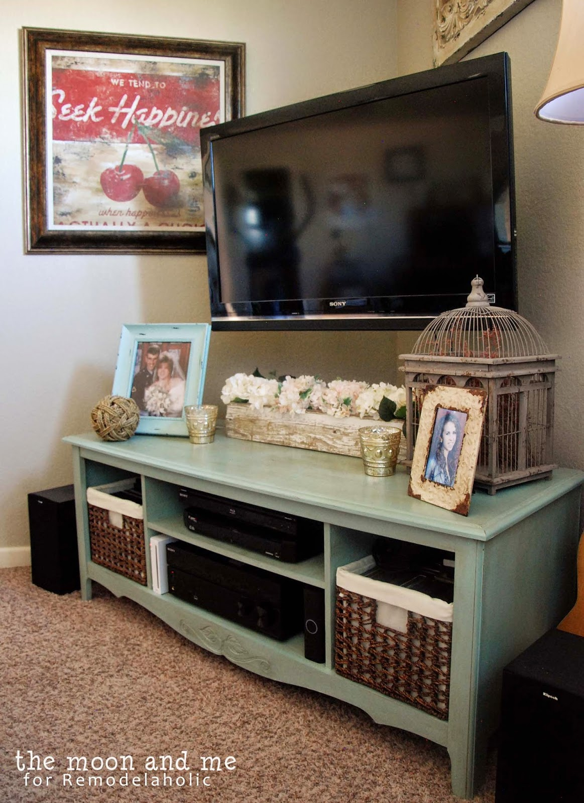 Remodelaholic turn an entertainment center into a tv for Living room corner tv ideas